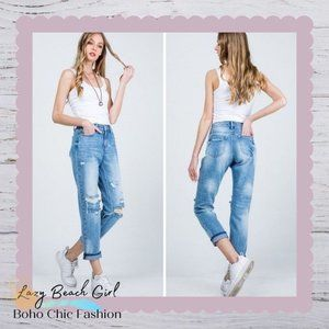 Mid Rise Relaxed Skinny Jeans With Cuff
